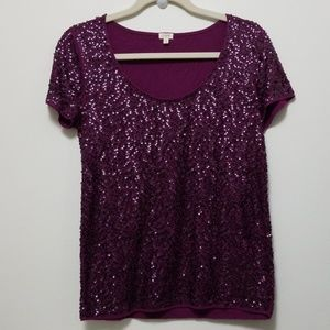 💎J Crew purple sequin tee